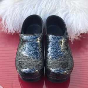 Dansko silver and black clogs size 39